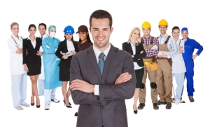 Workers of different professions together on white